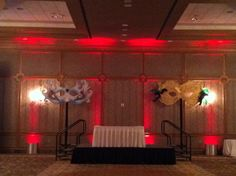 DJ stage masquerade theme decor