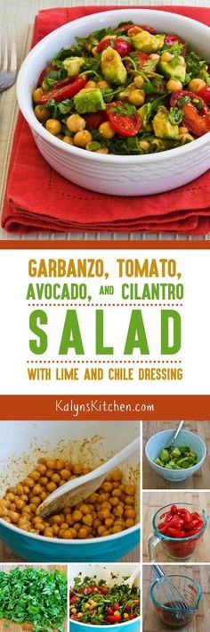 Avocado adds the perfect creamy touch in this tasty Garbanzo, Tomato, Avocado, and Cilantro Salad with Lime and Chile Dressing. This salad is vegan, gluten-free, and South Beach Diet Phase One, and if you want a version with less carbs, use half the amount of beans and more avocado. [found on KalynsKitchen.com.]