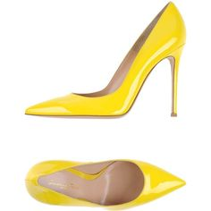 Gianvito Rossi Court (€360) ❤ liked on Polyvore featuring shoes, pumps, yellow, stilettos shoes, real leather shoes, animal shoes, animal pump and stiletto heel shoes