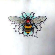 Neo traditional bee design by Amy Rose bee tattoo idea 1 Tattoo, Tattoo Drawings, Body Art Tattoos, Cool Tattoos, Tattoo Flash, Leg Tattoos, Tatoos, Amy Rose, Neo Traditional Tattoo
