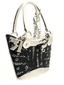 Rosato 18ct White Gold, Black & Glitter Enamel Kim XL Handbag Pendant - Lobster Claw Clasp - Classic Collection