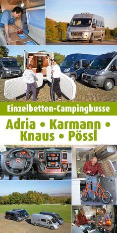 Separate Längsbetten werden auch in Campingbussen immer beliebter. Wo komfortbewusste Paare am besten unterkommen, zeigt der große Vergleichstest der Einzelbettenmodelle von Adria, Karmann, Knaus und Pössl. #Campingbus #Einzelbett