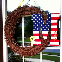 Support our Troops Military Personalized Wreath Army Life, Army Mom, Military Life, Budget Crafts, Diy Crafts, Cute Letters, Support Our Troops, Wreath Tutorial, Love And Light