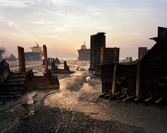 A shot by Canadian photographer Edward Burtynsky of a ship breaking yard on Potenga Beach in the southern Bangladesh port of Chittagong. Ship breaking allows different materials from old ships,. National Geographic, The Wages Of Fear, Seattle Skyline, New York Skyline, Ship Breaking, Transformers, Web Gallery, Galleries In London, Looks Cool