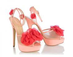 Charlotte Olympia pale pink pumps with crimson fleur flowers