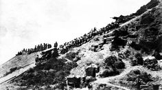 The terrain at the Battle of Gallipoli in the Spring of 1915 was rugged and nearly impossible to manoeuvre from the perspective of the Allied forces (ANZAC) that landed on the beaches with next to no instructions. Gallipoli Campaign, Ww1 Photos, Anzac Cove, Ww1 Soldiers, Anzac Day, Lest We Forget, Military Police, Water Supply, World War I