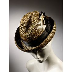 "Man's straw ""pork pie"" cycling hat with satin hat band and feather trim, British, ca. 1898."