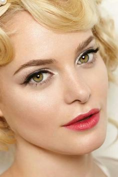 The screen-siren brides will love this pearly sheen look combining red lips and winged eyes, as seen on BridesMagazine.co.uk (BridesMagazine.co.uk) | See more about 1950s Makeup, Wedding makeup and Makeup.