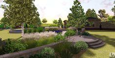 Duży trawnik przedzielony jest murkiem oporowym obsadzonym wieloma roślinami.