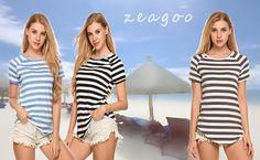 Amazon: Zeagoo Women's Summer Short Sleeve Striped T-shirt...