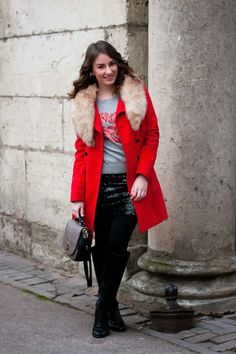 Shop this look on Lookastic:  http://lookastic.com/women/looks/fur-collar-coat-crew-neck-sweater-mini-skirt-satchel-bag-tights-knee-high-boots/5922  — Red Fur Collar Coat  — Grey Print Crew-neck Sweater  — Black Sequin Mini Skirt  — Grey Leather Satchel Bag  — Black Wool Tights  — Black Leather Knee High Boots