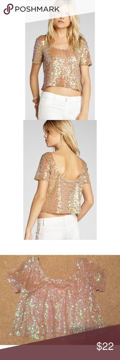 Bcbg iridescent sequin crop top small Sheer & see through! So pretty! Perfect for over a bralette this summer. Excellent condition from smoke free home. Reasonable offers considered. BCBGeneration Tops Crop Tops