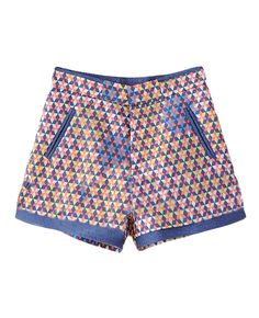 High-rise Multi-colored Wide-leg Shorts
