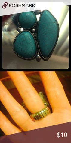 Simulated Turquoise Ring Stretchy band, worn a couple times, no flaws at all! H&M Jewelry Rings