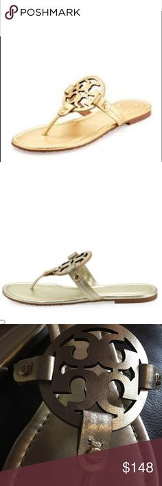 """Tory Burch Miller Leather Logo Sandal $198.00 Tory Burch metallic leather sandal. 0.5"""" flat heel. Thong strap. Double-T logo vamp. Golden stud details. Cushioned footbed. Leather lining. Rubber outsole. """"Miller"""" is made in Brazil.  About Tory Burch: Tory Burch is an American lifestyle brand that embodies the personal style and sensibility of its chairman, CEO and designer, Tory Burch. Launched in February 2004, the collection includes ready-to-wear, shoes, handbags, accessories, watches…"""