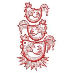Redwork Rippled Roosters 03(Lg) machine embroidery designs