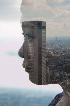 portraits made using reflections on city skylines @mermaid Ruth