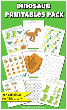Dinosaur Printables Pack with 70 dinosaur learning activities for kids ages Dinosaurs Preschool, Dinosaur Activities, Dinosaur Crafts, Free Preschool, Preschool Themes, Kids Learning Activities, Preschool Printables, Fun Learning, Dinosaur Dinosaur