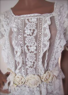 Vintage Antique Edwardian Mixed Lace Wedding Dress Gown with Large Silk Roses.  So lovely and feminine.  B.