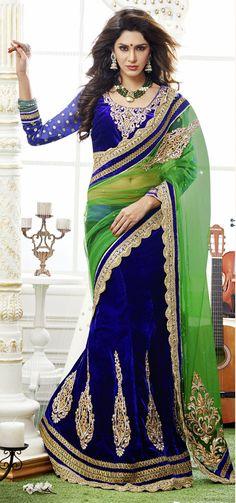 Navy Blue And Green Color Lehenga Saree