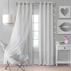 Aurora Kids Room Darkening Layered Sheer Curtain Panel - x - Pearl Gray - Elrene Home Fashions Kids Room, Room, Mattress Furniture, Sheer Curtain, Elrene Home Fashions, Kids Blackout Curtains, Drapes Curtains, Curtains, Sheer Curtain Panels