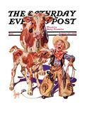 """Little Cowboy Takes a Licking,"" Saturday Evening Post Cover, August 20, 1938 Lámina giclée por Joseph Christian Leyendecker"