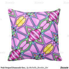 Pink Striped Diamonds Geometric Pattern Pillows