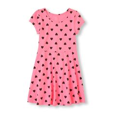 Short Sleeve Heart Print Skater Dress | The Children's Place CA