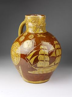Edwin Beer Fishley - jug with incised slip decoration circa 1895 - 1910