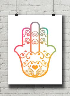 Hamsa Heart Print / Instant Digital Download / by OlaHolaHola