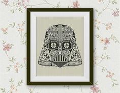 BOGO FREE! Darth Vader Cross Stitch Pattern, Star Wars Cross Stitch Pattern Darth Vader Sugar Skull Needlework Instant PDF Download #002-2