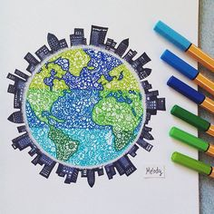 Stabilo zentangle art of the earth and surrounding city skyline Stabilo Zentangle Kunst der Erde und der umliegenden Skyline der Stadt Dibujos Zentangle Art, Mandala Drawing, Doodle Art, Cute Drawings, Art Inspo, Painting & Drawing, Art Sketches, Amazing Art, Disney Drawings