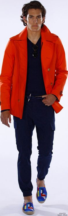 Ralph Lauren Spring 2016 | Men's Fashion | Menswear | Men's Casual Outfit | Black & Orange | Moda Masculina | Shop at designerclothingfans.com