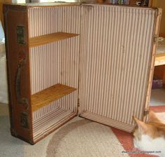 A modified vintage suitcase, for vendor display.