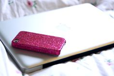 hot pink glitter sparkles iphone case