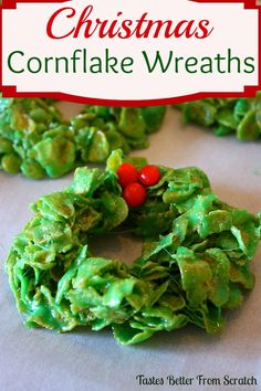 Christmas Cornflake Wreaths (Guest Post) - One of my favorite holiday treats!: Christmas Cornflake Wreaths are one of my favorite easy Christmas treats that everyone in your family will love! Easy Christmas Treats, Christmas Sweets, Christmas Cooking, Christmas Goodies, Holiday Treats, Christmas Parties, Christmas Christmas, Winter Parties, Winter Holidays
