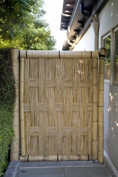 Here is a really nice bamboo fence. This gate uses a basket weave technique to create a unique look.