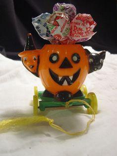 Vintage Jack O' Lantern Witch Cat Cart Wheels CANDY HOLDER Rosbro Halloween