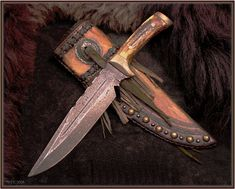 bowie sheath ideas - The Knife Network Forums : Knife Making Discussions Swords And Daggers, Knives And Swords, Leather Holster, Leather Tooling, Survival, Best Pocket Knife, Cool Knives, Knife Sheath, Utility Knife