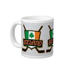 #Ireland Irish Ice Hockey Flag Logo Jumbo Mug. To see this design on a range of other products, please visit my store: www.zazzle.com/gamefacegear*/ #zazzle #icehockey