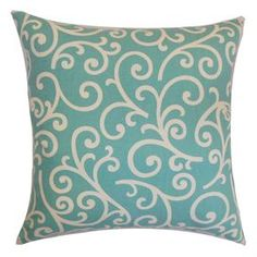 """Cotton pillow with scrollwork motif.  Product: PillowConstruction Material: Cotton and down fillColor: AquaFeatures:  Insert includedHidden zipper closureMade in the USA Dimensions: 18"""" x 18""""Cleaning and Care: Spot clean"""