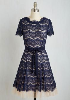 Art Appreciator Dress. All the awe and admiration you dole out finds its way back to you when you flaunt this scalloped lace dress! #blue #bridesmaid #modcloth