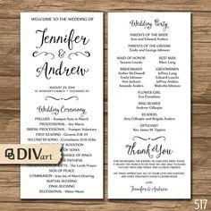 Rustic Wedding Program, Wedding Ceremony, Order of Events Template ...