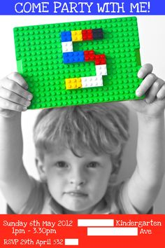 Peyton's 5th Birthday Lego invite