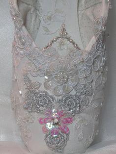 Cinderella's crystal decorative pointe shoe by DesignsEnPointe