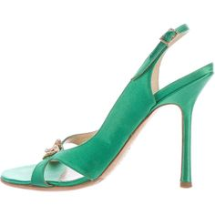 Pre-owned Jimmy Choo Satin Embellished Sandals ($145) ❤ liked on Polyvore featuring shoes, sandals, green, jimmy choo, satin shoes, embellished shoes, embellished sandals and sling back shoes