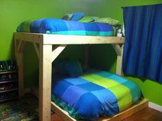 Timber-frame bunk beds. Double up queen down. Loving the floor space it opens up.