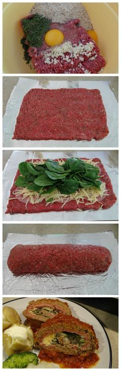Rolled Meatloaf - stuffed with spinach, ham and cheese
