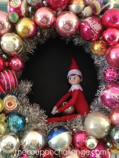 Super duper easy Elf on the Shelf Idea.  Put your Elf in or on a holiday decoration and see if the kids notice.  Sometime my kids are so busy searching they miss the Elf staring right at them!