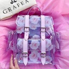 Cute Mini Backpacks, Stylish Backpacks, Girl Backpacks, Backpack Bags, Leather Backpack, Kawaii Bags, Transparent Bag, Accesorios Casual, Cute Purses